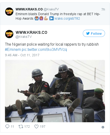 Twitter post by @KraksTV: The Nigerian police waiting for local rappers to try rubbish #Eminem pic.twitter.com/8kx3MVfVzq