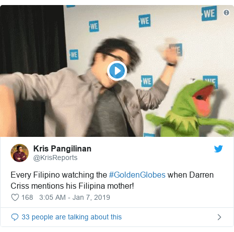 Twitter post by @KrisReports: Every Filipino watching the #GoldenGlobes when Darren Criss mentions his Filipina mother!