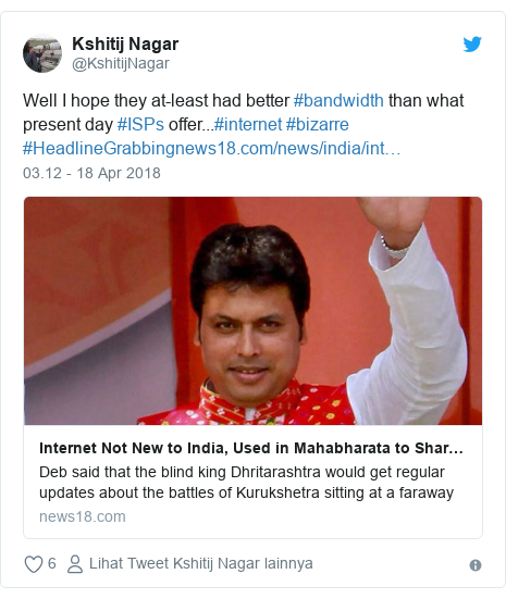 Twitter pesan oleh @KshitijNagar: Well I hope they at-least had better #bandwidth than what present day #ISPs offer...#internet #bizarre #HeadlineGrabbing