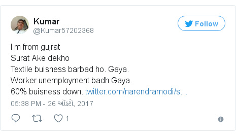 Twitter post by @Kumar57202368: I m from gujratSurat Ake dekhoTextile buisness barbad ho. Gaya.Worker unemployment badh Gaya.60% buisness  down.