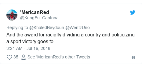 Twitter post by @KungFu_Cantona_: And the award for racially dividing a country and politicizing a sport victory goes to..........
