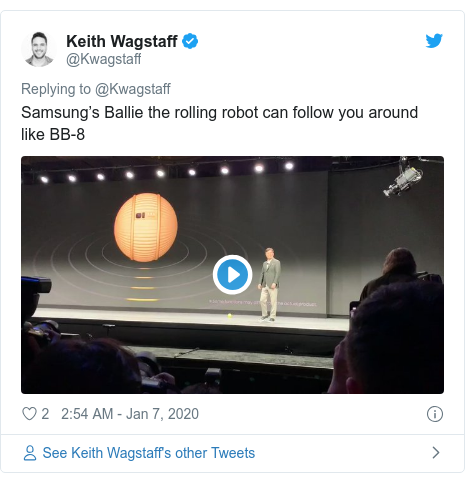 Twitter post by @Kwagstaff: Samsung's Ballie the rolling robot can follow you around like BB-8