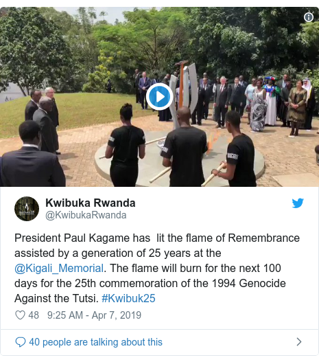 Twitter post by @KwibukaRwanda: President Paul Kagame has  lit the flame of Remembrance  assisted by a generation of 25 years at the @Kigali_Memorial. The flame will burn for the next 100 days for the 25th commemoration of the 1994 Genocide Against the Tutsi. #Kwibuk25