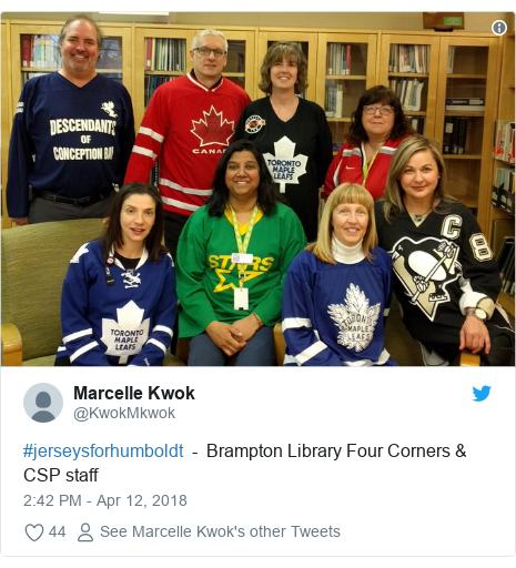 Twitter post by @KwokMkwok: #jerseysforhumboldt  -  Brampton Library Four Corners & CSP staff