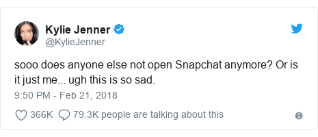 Twitter post by @KylieJenner: sooo does anyone else not open Snapchat anymore? Or is it just me... ugh this is so sad.