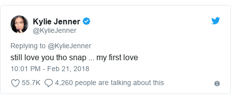 Twitter post by @KylieJenner: still love you tho snap ... my first love
