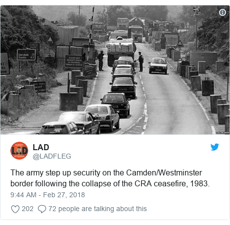 Twitter post by @LADFLEG: The army step up security on the Camden/Westminster border following the collapse of the CRA ceasefire, 1983.