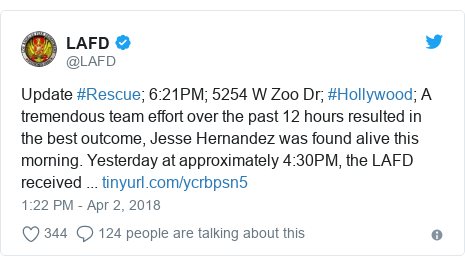 Twitter post by @LAFD: Update #Rescue; 6 21PM; 5254 W Zoo Dr; #Hollywood; A tremendous team effort over the past 12 hours resulted in the best outcome, Jesse Hernandez was found alive this morning. Yesterday at approximately 4 30PM, the LAFD received ...