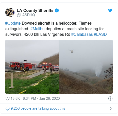 Twitter post by @LASDHQ: #Update Downed aircraft is a helicopter. Flames extinguished. #Malibu deputies at crash site looking for survivors, 4200 blk Las Virgenes Rd #Calabasas #LASD