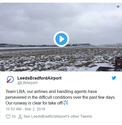 Twitter post by @LBIAirport: Team LBA, our airlines and handling agents have persevered in the difficult conditions over the past few days. Our runway is clear for take off!✈️