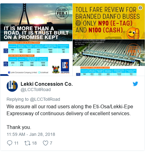 Twitter post by @LCCTollRoad: We assure all our road users along the Eti-Osa/Lekki-Epe Expressway of continuous delivery of excellent services.Thank you.