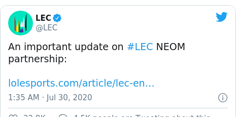 Twitter post by @LEC: An important update on #LEC NEOM partnership