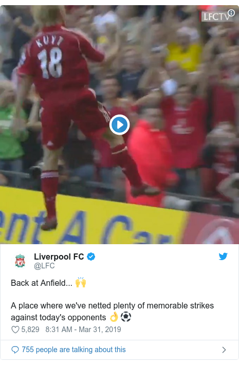 Twitter post by @LFC: Back at Anfield... 🙌A place where we've netted plenty of memorable strikes against today's opponents 👌⚽️