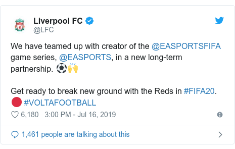 Twitter post by @LFC: We have teamed up with creator of the @EASPORTSFIFA game series, @EASPORTS, in a new long-term partnership. ⚽️🙌 Get ready to break new ground with the Reds in #FIFA20. 🔴 #VOLTAFOOTBALL