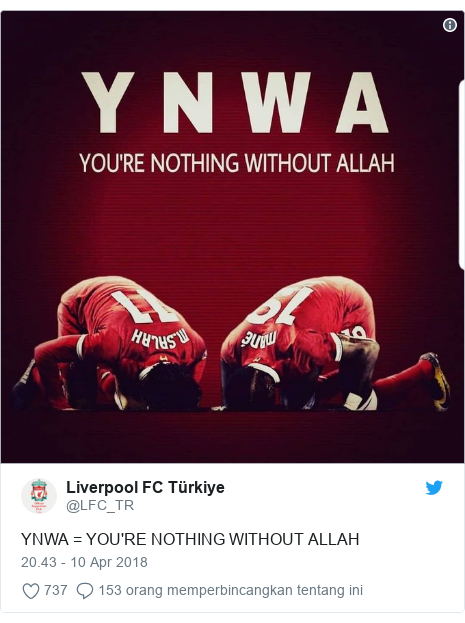 Twitter pesan oleh @LFC_TR: YNWA = YOU'RE NOTHING WITHOUT ALLAH
