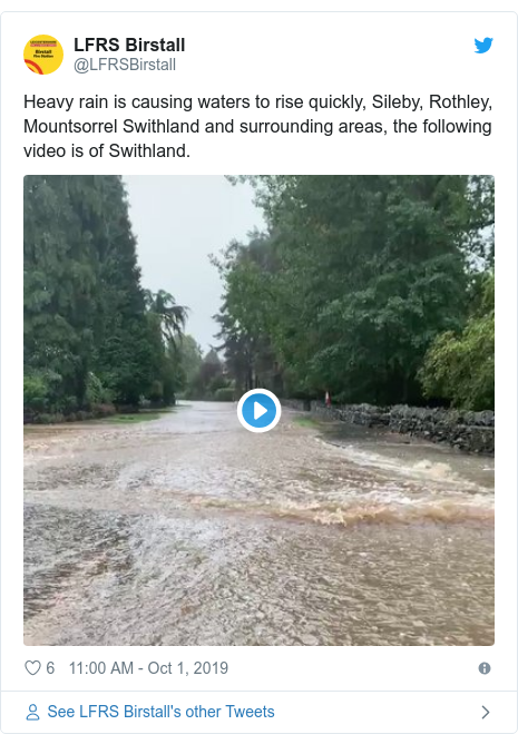 Twitter post by @LFRSBirstall: Heavy rain is causing waters to rise quickly, Sileby, Rothley, Mountsorrel Swithland and surrounding areas, the following video is of Swithland.