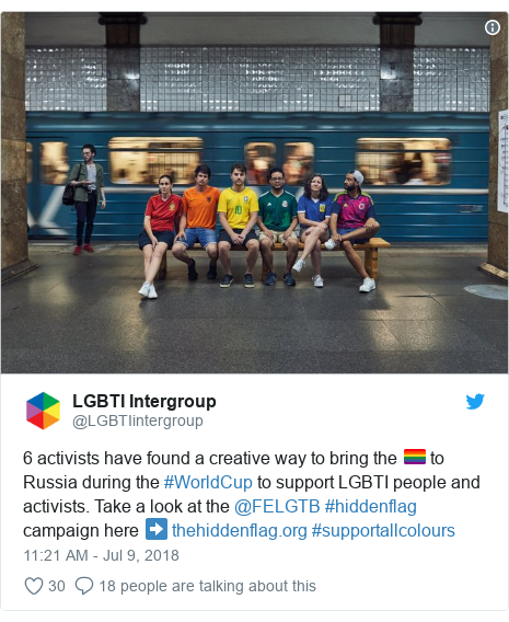 Twitter post by @LGBTIintergroup: 6 activists have found a creative way to bring the 🏳️‍🌈 to Russia during the #WorldCup to support LGBTI people and activists. Take a look at the @FELGTB #hiddenflag campaign here ➡️  #supportallcolours