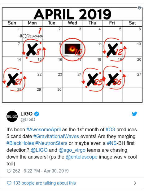Twitter post by @LIGO: It's been #AwesomeApril as the 1st month of #O3 produces 5 candidate #GravitationalWaves events! Are they merging #BlackHoles #NeutronStars or maybe even a #NS-BH first detection? @LIGO and @ego_virgo teams are chasing down the answers! (ps the @ehtelescope image was v cool too)