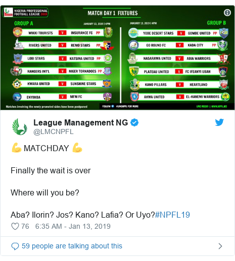 Twitter post by @LMCNPFL: 💪 MATCHDAY 💪Finally the wait is overWhere will you be?Aba? Ilorin? Jos? Kano? Lafia? Or Uyo?#NPFL19