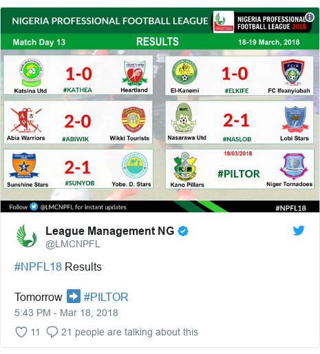 Twitter post by @LMCNPFL: #NPFL18 ResultsTomorrow ➡️ #PILTOR