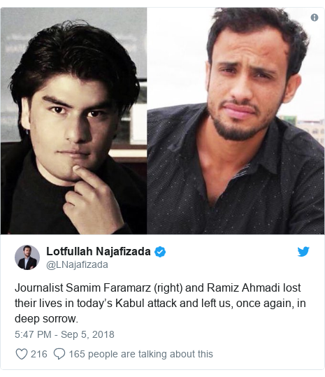 د @LNajafizada په مټ ټویټر  تبصره : Journalist Samim Faramarz (right) and Ramiz Ahmadi lost their lives in today's Kabul attack and left us, once again, in deep sorrow.