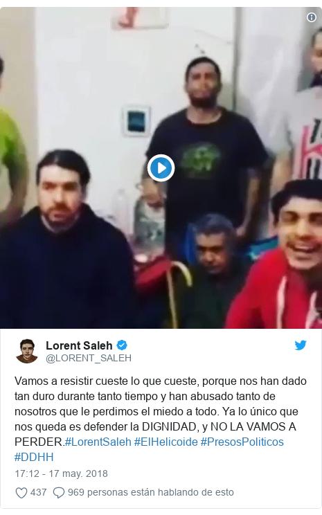 Publicación de Twitter por @LORENT_SALEH: Vamos a resistir cueste lo que cueste, porque nos han dado tan duro durante tanto tiempo y han abusado tanto de nosotros que le perdimos el miedo a todo. Ya lo único que nos queda es defender la DIGNIDAD, y NO LA VAMOS A PERDER.#LorentSaleh #ElHelicoide #PresosPoliticos #DDHH