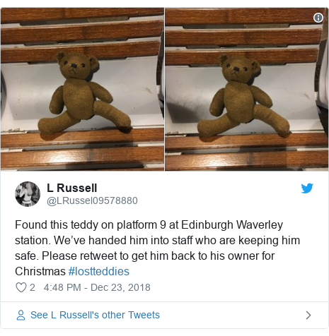 Twitter post by @LRussel09578880: Found this teddy on platform 9 at Edinburgh Waverley station. We've handed him into staff who are keeping him safe. Please retweet to get him back to his owner for Christmas #lostteddies