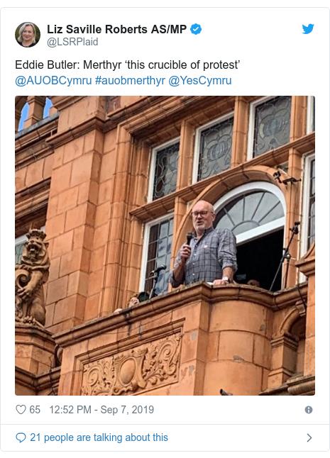 Twitter post by @LSRPlaid: Eddie Butler  Merthyr 'this crucible of protest' @AUOBCymru #auobmerthyr @YesCymru
