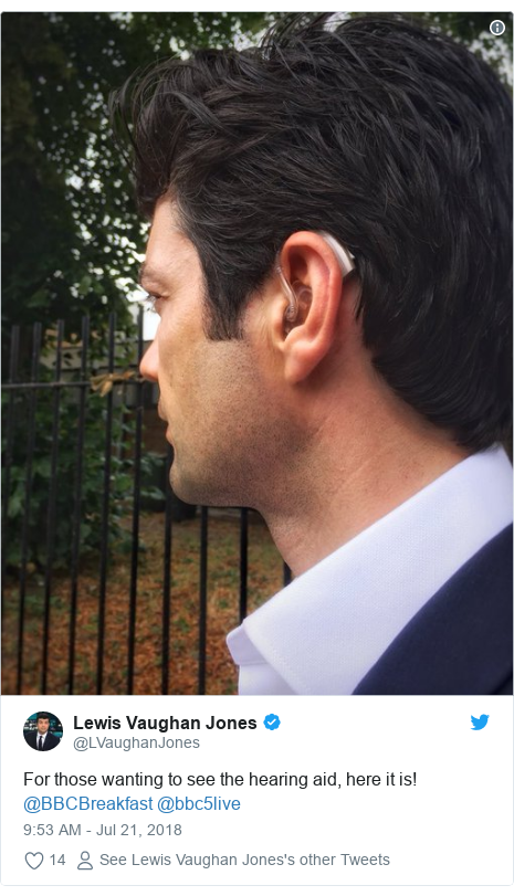 Twitter post by @LVaughanJones: For those wanting to see the hearing aid, here it is! @BBCBreakfast @bbc5live