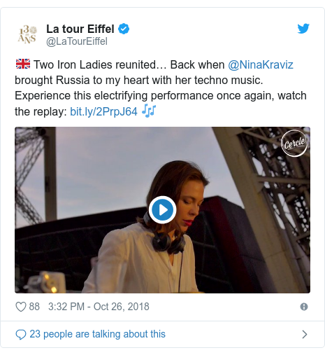 Twitter post by @LaTourEiffel: 🇬🇧 Two Iron Ladies reunited… Back when @NinaKraviz brought Russia to my heart with her techno music. Experience this electrifying performance once again, watch the replay   🎶