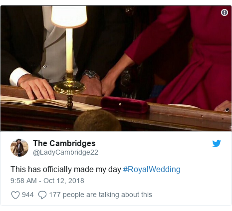 Twitter post by @LadyCambridge22: This has officially made my day #RoyalWedding
