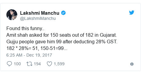 Twitter post by @LakshmiManchu: Found this funny..Amit shah asked for 150 seats out of 182 in Gujarat.Gujju people gave him 99 after deducting 28% GST.182 * 28%= 51, 150-51=99...