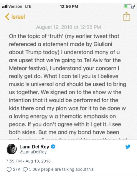 Twitter post by @LanaDelRey:
