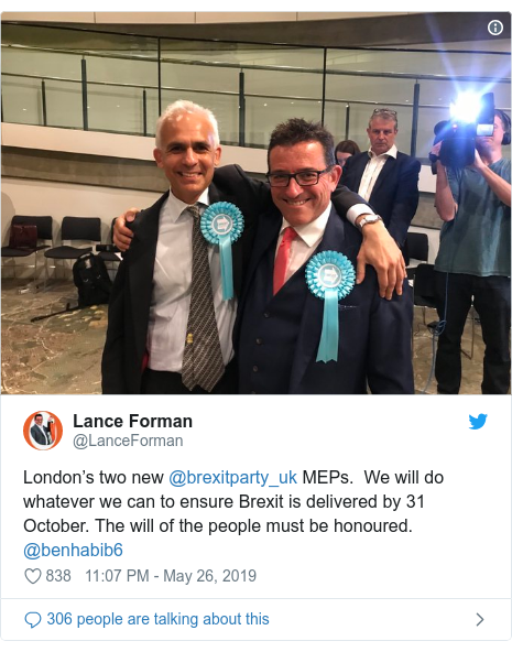 Twitter post by @LanceForman: London's two new @brexitparty_uk MEPs.  We will do whatever we can to ensure Brexit is delivered by 31 October. The will of the people must be honoured. @benhabib6