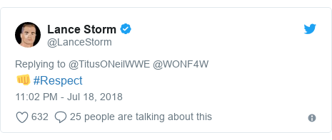 Twitter post by @LanceStorm: 👊 #Respect