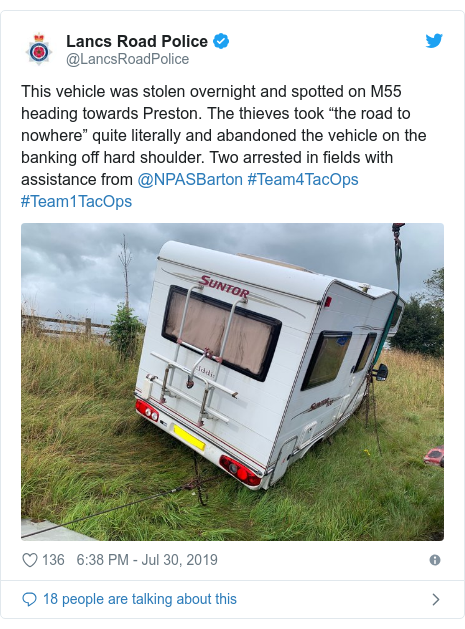"Twitter post by @LancsRoadPolice: This vehicle was stolen overnight and spotted on M55 heading towards Preston. The thieves took ""the road to nowhere"" quite literally and abandoned the vehicle on the banking off hard shoulder. Two arrested in fields with assistance from @NPASBarton #Team4TacOps #Team1TacOps"