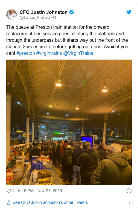 Twitter post by @Lancs_FireDCFO: The queue at Preston train station for the onward replacement bus service goes all along the platform and through the underpass but it starts way out the front of the station. 2hrs estimate before getting on a bus. Avoid if you can! #preston #virgintrains @VirginTrains