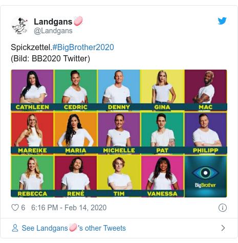 Twitter post by @Landgans: Spickzettel.#BigBrother2020(Bild  BB2020 Twitter)