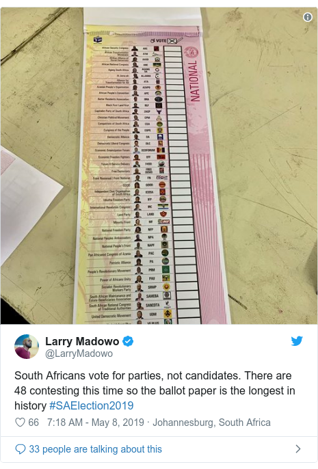 Twitter post by @LarryMadowo: South Africans vote for parties, not candidates. There are 48 contesting this time so the ballot paper is the longest in history #SAElection2019