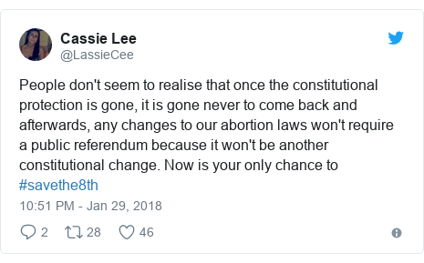 Twitter post by @LassieCee: People don't seem to realise that once the constitutional protection is gone, it is gone never to come back and afterwards, any changes to our abortion laws won't require a public referendum because it won't be another constitutional change. Now is your only chance to #savethe8th