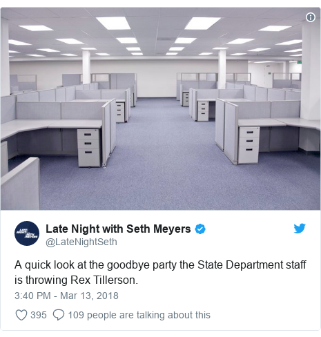 Twitter post by @LateNightSeth: A quick look at the goodbye party the State Department staff is throwing Rex Tillerson.
