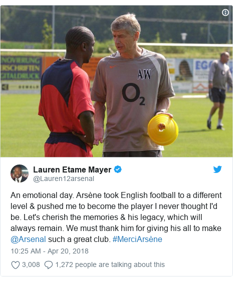 Twitter post by @Lauren12arsenal: An emotional day. Arsène took English football to a different level & pushed me to become the player I never thought I'd be. Let's cherish the memories & his legacy, which will always remain. We must thank him for giving his all to make @Arsenal such a great club. #MerciArsène