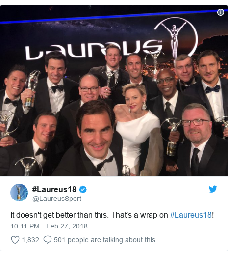 Twitter post by @LaureusSport: It doesn't get better than this. That's a wrap on #Laureus18!
