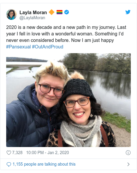 Twitter post by @LaylaMoran: 2020 is a new decade and a new path in my journey. Last year I fell in love with a wonderful woman. Something I'd never even considered before. Now I am just happy #Pansexual #OutAndProud