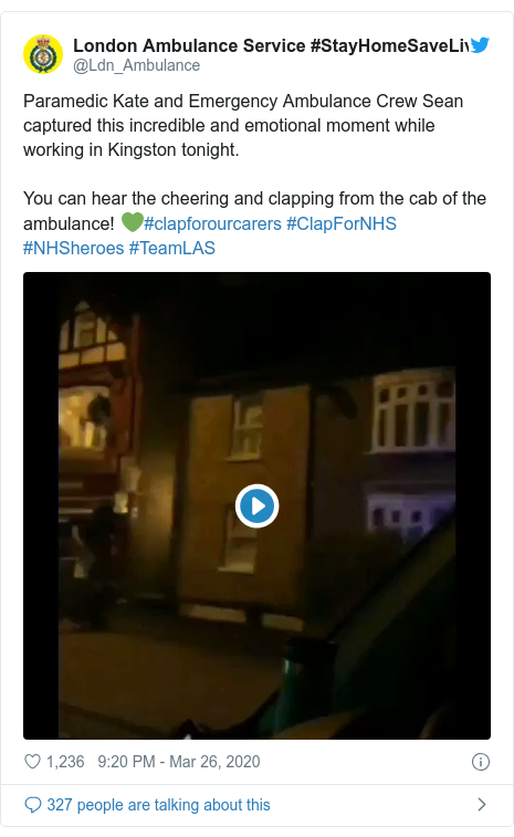 Twitter post by @Ldn_Ambulance: Paramedic Kate and Emergency Ambulance Crew Sean captured this incredible and emotional moment while working in Kingston tonight.You can hear the cheering and clapping from the cab of the ambulance! 💚#clapforourcarers #ClapForNHS #NHSheroes #TeamLAS
