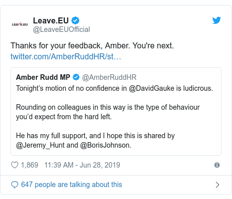 Twitter post by @LeaveEUOfficial: Thanks for your feedback, Amber. You're next.