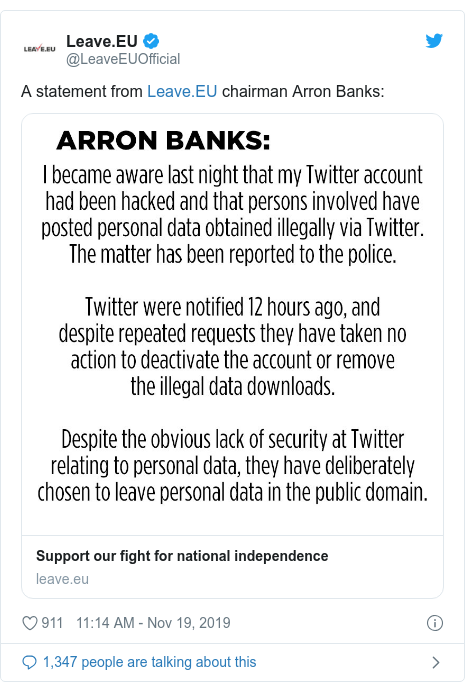 Twitter post by @LeaveEUOfficial: A statement from  chairman Arron Banks