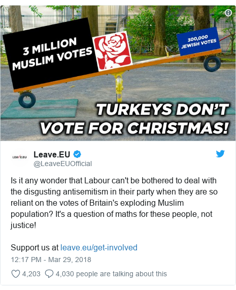 Twitter post by @LeaveEUOfficial: Is it any wonder that Labour can't be bothered to deal with the disgusting antisemitism in their party when they are so reliant on the votes of Britain's exploding Muslim population? It's a question of maths for these people, not justice!Support us at