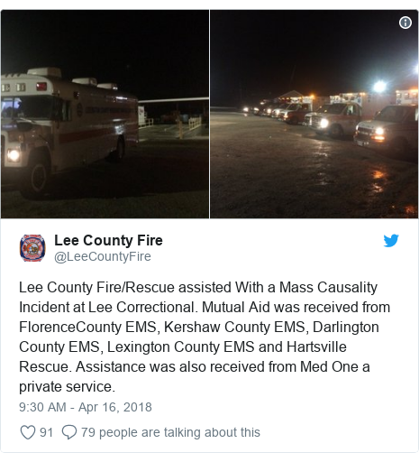 Twitter post by @LeeCountyFire: Lee County Fire/Rescue assisted With a Mass Causality Incident at Lee Correctional. Mutual Aid was received from FlorenceCounty EMS, Kershaw County EMS, Darlington County EMS, Lexington County EMS and Hartsville Rescue. Assistance was also received from Med One a private service.