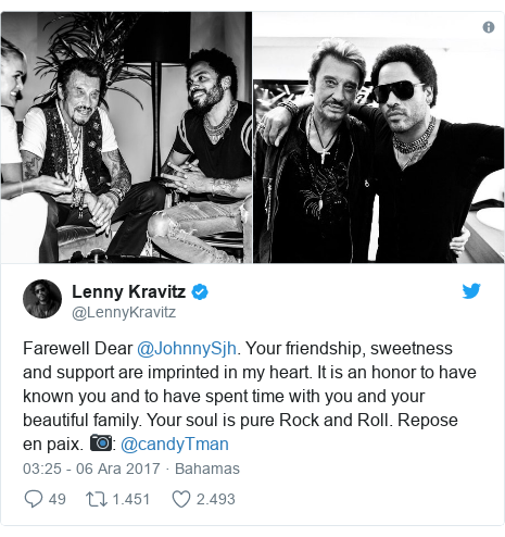 @LennyKravitz tarafından yapılan Twitter paylaşımı: Farewell Dear @JohnnySjh. Your friendship, sweetness and support are imprinted in my heart. It is an honor to have known you and to have spent time with you and your beautiful family. Your soul is pure Rock and Roll. Repose en paix. 📷  @candyTman